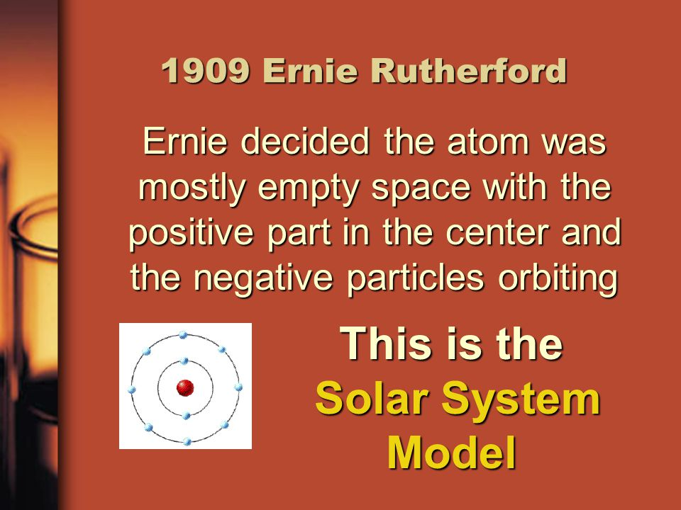 1909 Ernie Rutherford Ernie decided the atom was mostly empty space with the positive part in the center and the negative particles orbiting This is the Solar System Model