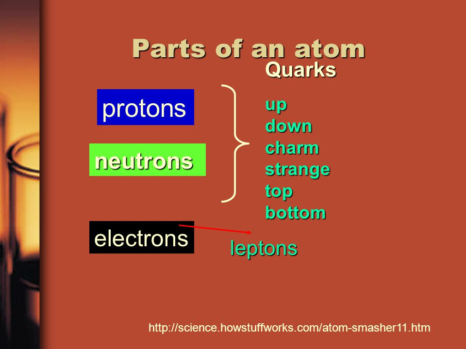 Parts of an atom electrons protons neutronsQuarks up down charm strange top bottom leptons http://science.howstuffworks.com/atom-smasher11.htm