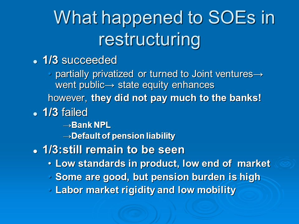 What happened to SOEs in restructuring 1/3 succeeded 1/3 succeeded partially privatized or turned to Joint ventures→ went public→ state equity enhancespartially privatized or turned to Joint ventures→ went public→ state equity enhances however, they did not pay much to the banks.