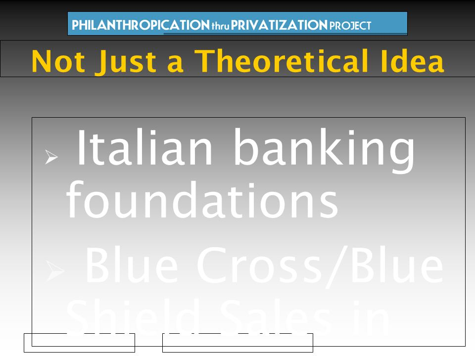  Italian banking foundations  Blue Cross/Blue Shield Sales in US  New Zealand Community Trusts  Volkswagen Foundation  Czech Foundation Investment Fund  415 verified cases so far Not Just a Theoretical Idea