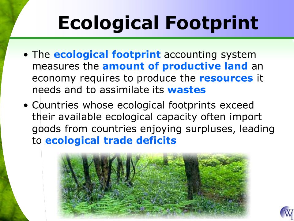 The ecological footprint accounting system measures the amount of productive land an economy requires to produce the resources it needs and to assimilate its wastes Countries whose ecological footprints exceed their available ecological capacity often import goods from countries enjoying surpluses, leading to ecological trade deficits Ecological Footprint