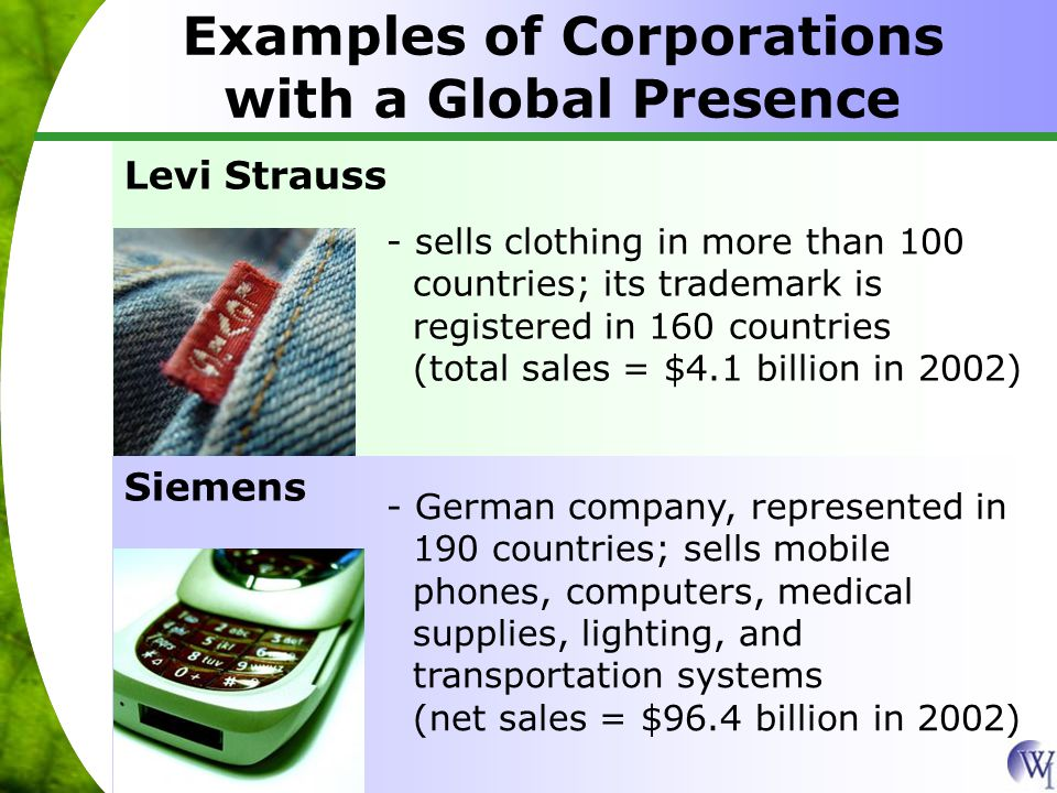 Examples of Corporations with a Global Presence Levi Strauss - sells clothing in more than 100 countries; its trademark is registered in 160 countries (total sales = $4.1 billion in 2002) Siemens - German company, represented in 190 countries; sells mobile phones, computers, medical supplies, lighting, and transportation systems (net sales = $96.4 billion in 2002)