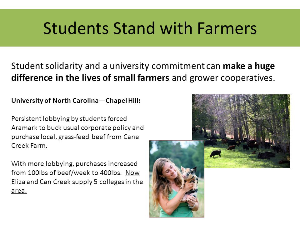Students Stand with Farmers Student solidarity and a university commitment can make a huge difference in the lives of small farmers and grower cooperatives.