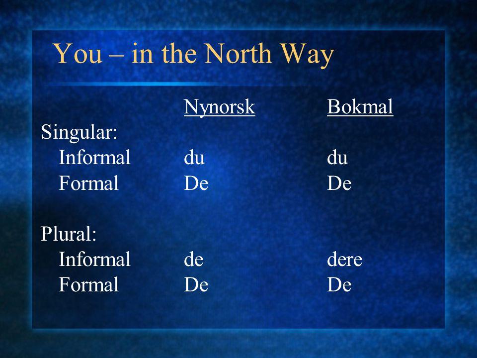 You – in the North Way NynorskBokmal Singular: Informaldudu FormalDeDe Plural: Informaldedere FormalDeDe