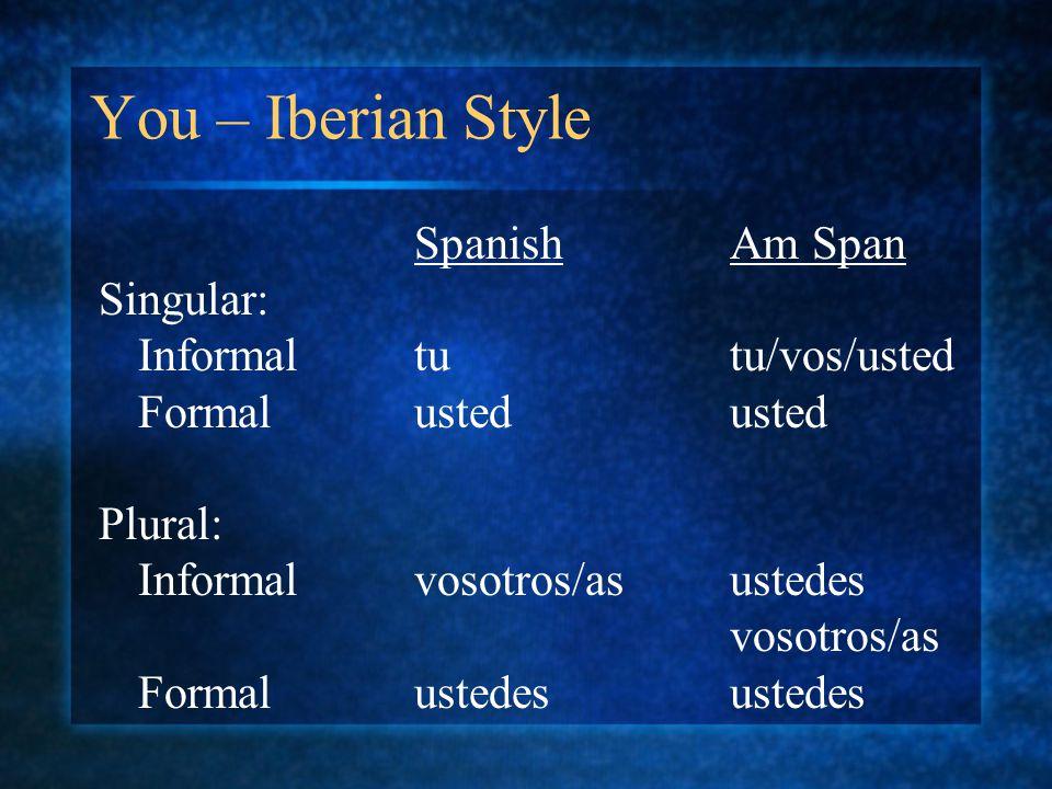 You – Iberian Style SpanishAm Span Singular: Informaltutu/vos/usted Formalustedusted Plural: Informalvosotros/asustedes vosotros/as Formalustedesustedes