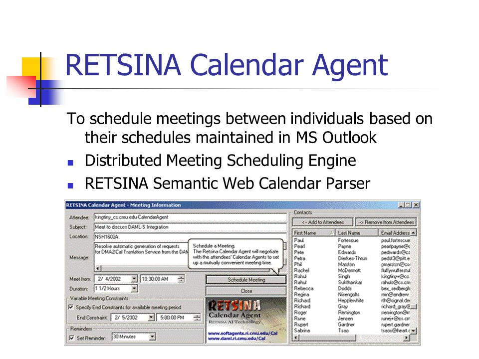 RETSINA Calendar Agent To schedule meetings between individuals based on their schedules maintained in MS Outlook Distributed Meeting Scheduling Engine RETSINA Semantic Web Calendar Parser