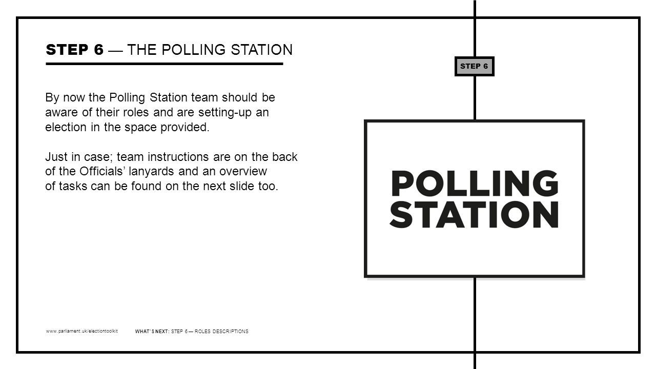 www.parliament.uk/electiontoolkit By now the Polling Station team should be aware of their roles and are setting-up an election in the space provided.
