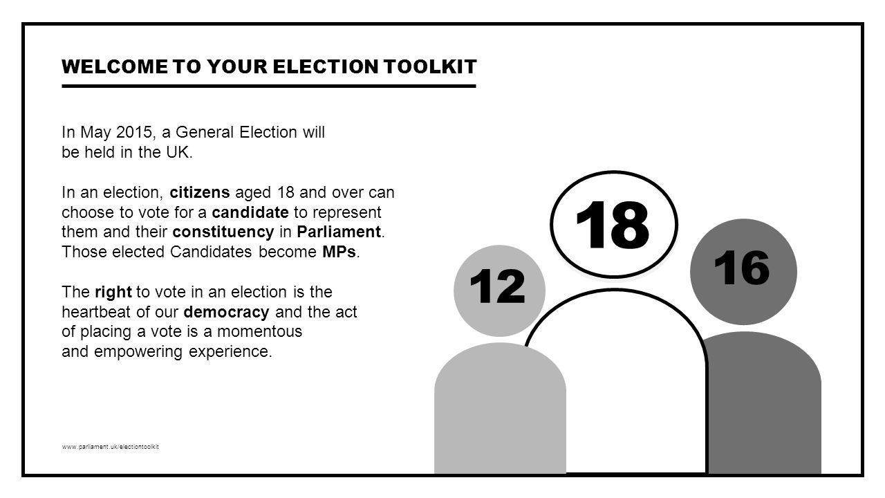 www.parliament.uk/electiontoolkit In May 2015, a General Election will be held in the UK.