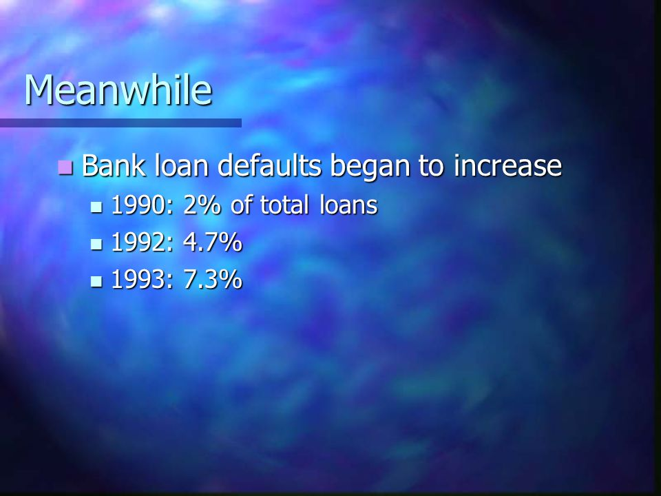 Meanwhile Bank loan defaults began to increase Bank loan defaults began to increase 1990: 2% of total loans 1990: 2% of total loans 1992: 4.7% 1992: 4