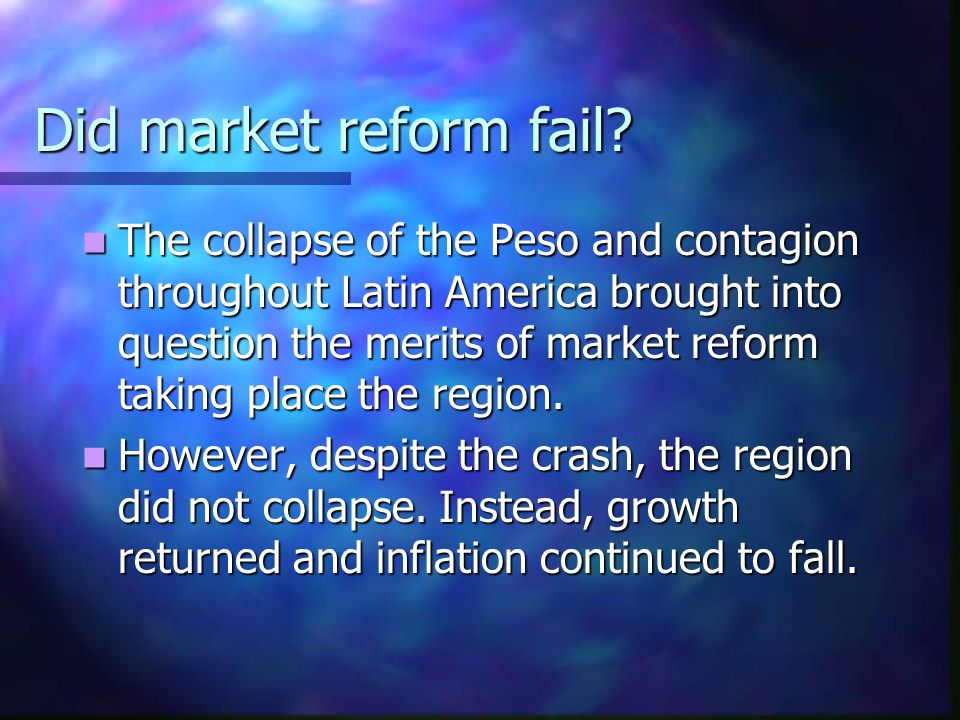 Did market reform fail.