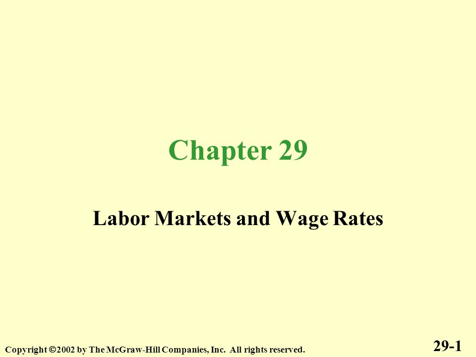Chapter 29 Labor Markets and Wage Rates 29-1 Copyright  2002 by The McGraw-Hill Companies, Inc.