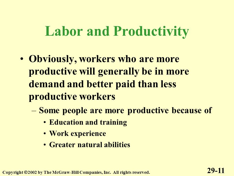 Labor and Productivity Obviously, workers who are more productive will generally be in more demand and better paid than less productive workers –Some people are more productive because of Education and training Work experience Greater natural abilities 29-11 Copyright  2002 by The McGraw-Hill Companies, Inc.