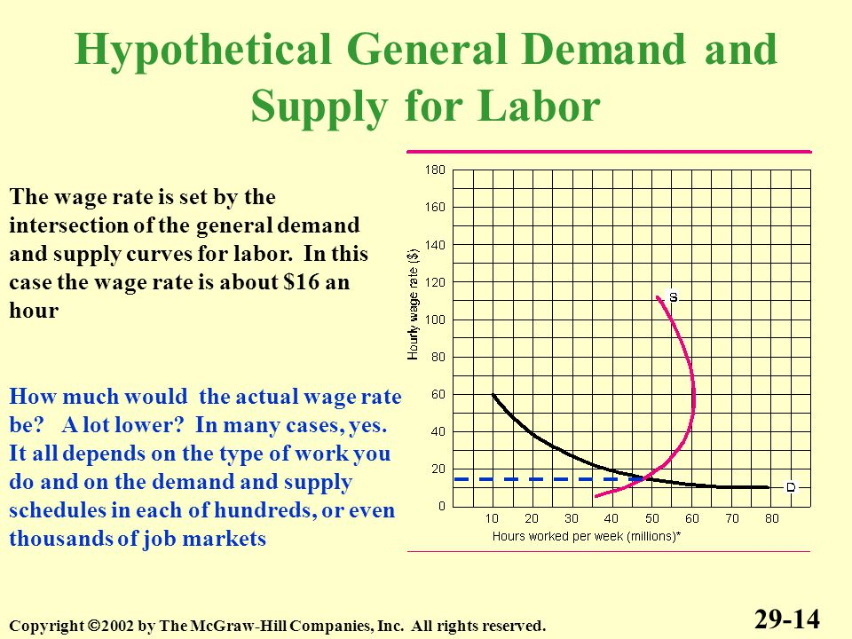 Hypothetical General Demand and Supply for Labor 29-14 Copyright  2002 by The McGraw-Hill Companies, Inc.
