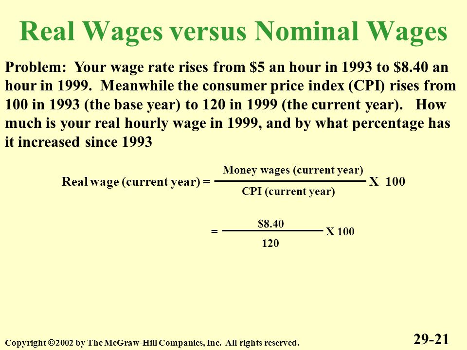 Real Wages versus Nominal Wages 29-21 Copyright  2002 by The McGraw-Hill Companies, Inc.