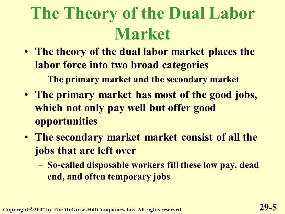 The Theory of the Dual Labor Market The theory of the dual labor market places the labor force into two broad categories –The primary market and the secondary market The primary market has most of the good jobs, which not only pay well but offer good opportunities The secondary market market consist of all the jobs that are left over –So-called disposable workers fill these low pay, dead end, and often temporary jobs 29-5 Copyright  2002 by The McGraw-Hill Companies, Inc.