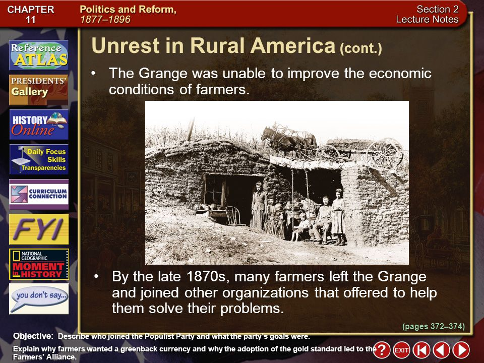 Section 2-10 The Grange was unable to improve the economic conditions of farmers.