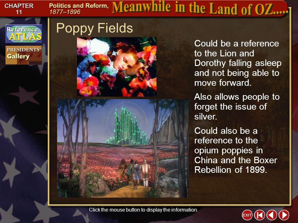 Section 1-5 Poppy Fields Click the mouse button to display the information.