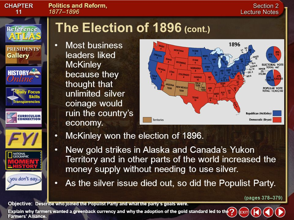 Section 2-23 Most business leaders liked McKinley because they thought that unlimited silver coinage would ruin the country's economy.