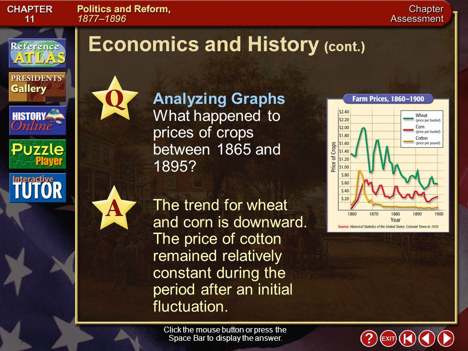 Chapter Assessment 10 Analyzing Graphs What happened to prices of crops between 1865 and 1895.