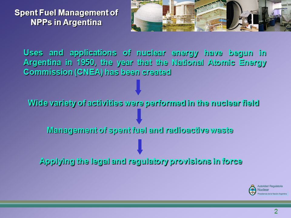 13 Spent Fuel Management of NPPs in Argentina Embalse NPP CNE reactor is a typical CANDU 6 (648 MWe) on load PHWR that is in operation in Argentina since 1984