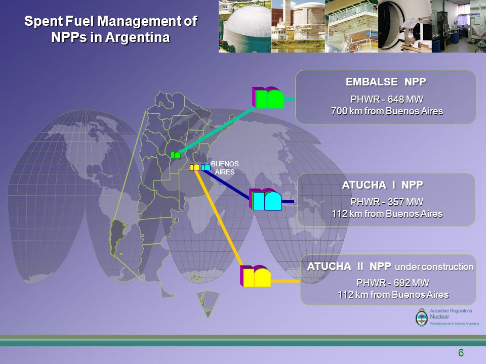 7 Spent Fuel Management of NPPs in Argentina CNA I is a PHWR (357 MWe) of German origin which is in operation since 1974 Former times: natural uranium fuel (0.71%) Between 1995 and 2000: fresh fuel gradually modified from natural to slightly enriched uranium (0.85 % nominal) Atucha I NPP