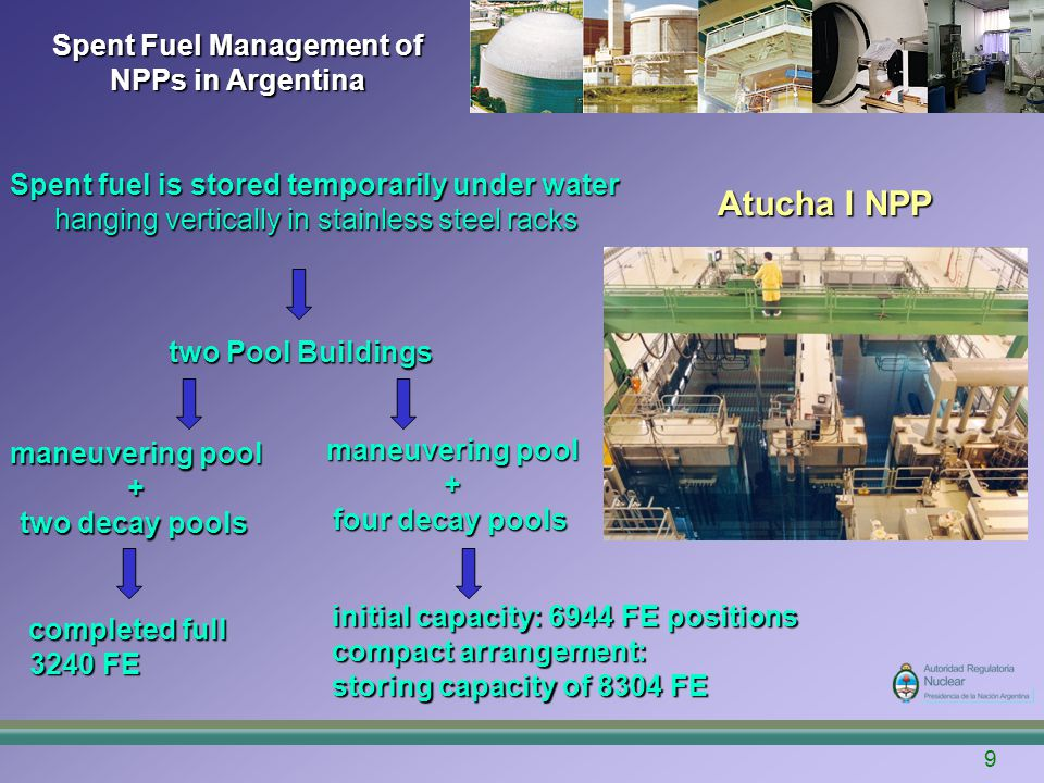 Spent Fuel Management of NPPs in Argentina 10 With a load factor of 85%, the arrangement will satisfy the storage demand up to 2015.