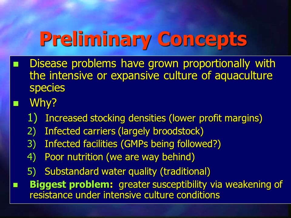 Preliminary Concepts n Disease problems have grown proportionally with the intensive or expansive culture of aquaculture species n Why? 1) Increased s