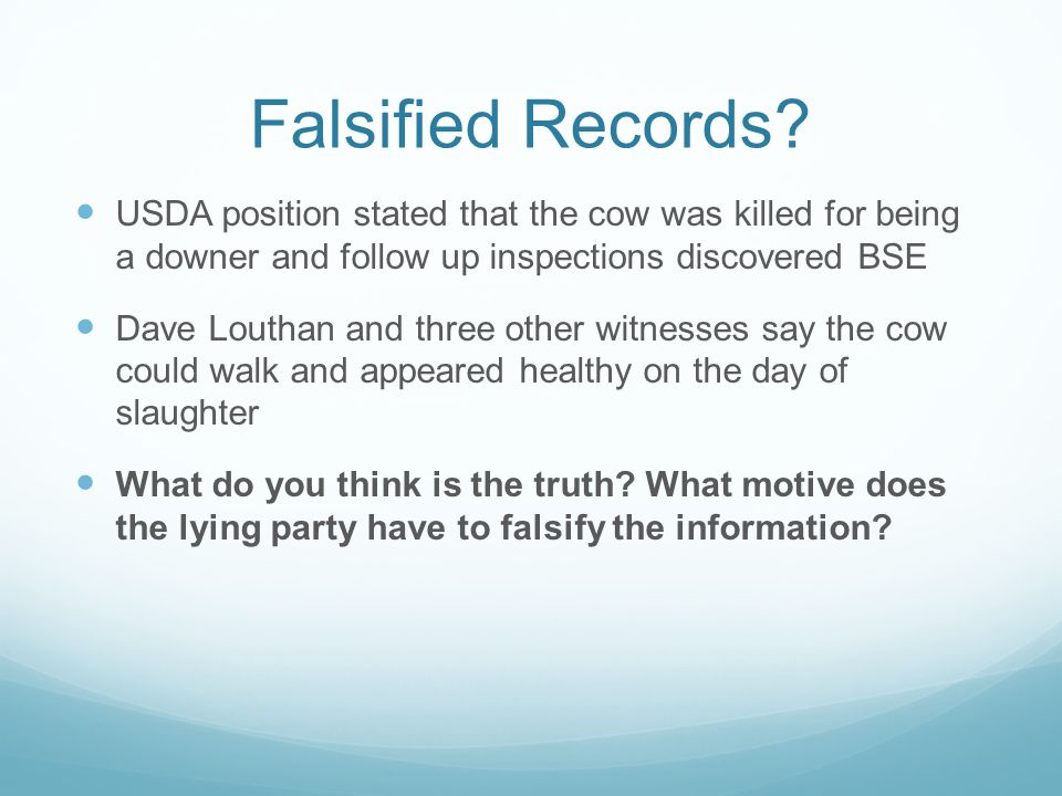 Falsified Records.