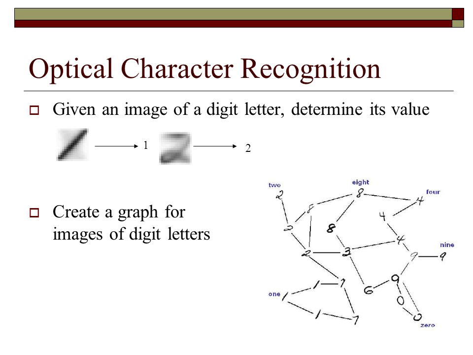 Optical Character Recognition  Given an image of a digit letter, determine its value 1 2  Create a graph for images of digit letters