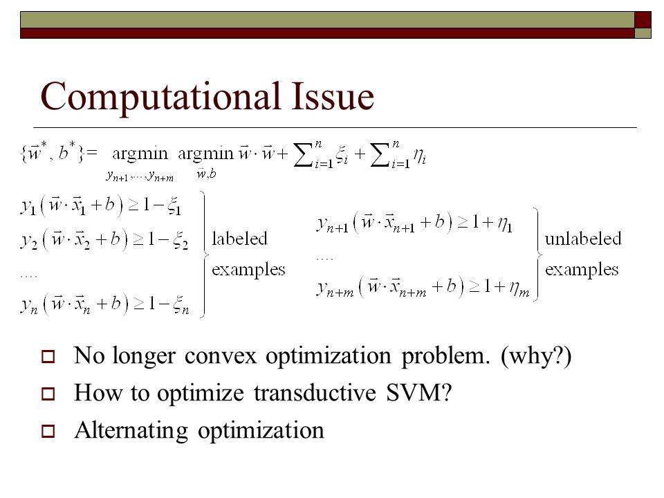 Computational Issue  No longer convex optimization problem.