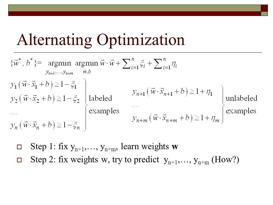 Alternating Optimization  Step 1: fix y n+1,…, y n+m, learn weights w  Step 2: fix weights w, try to predict y n+1,…, y n+m (How?)
