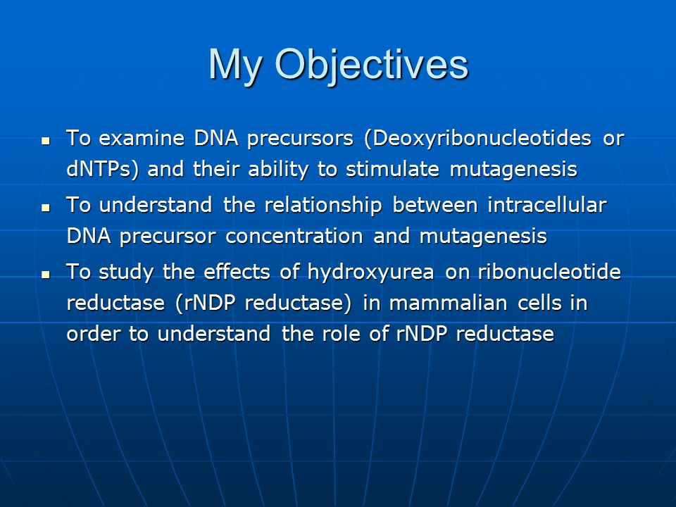 My Objectives To examine DNA precursors (Deoxyribonucleotides or dNTPs) and their ability to stimulate mutagenesis To examine DNA precursors (Deoxyribonucleotides or dNTPs) and their ability to stimulate mutagenesis To understand the relationship between intracellular DNA precursor concentration and mutagenesis To understand the relationship between intracellular DNA precursor concentration and mutagenesis To study the effects of hydroxyurea on ribonucleotide reductase (rNDP reductase) in mammalian cells in order to understand the role of rNDP reductase To study the effects of hydroxyurea on ribonucleotide reductase (rNDP reductase) in mammalian cells in order to understand the role of rNDP reductase