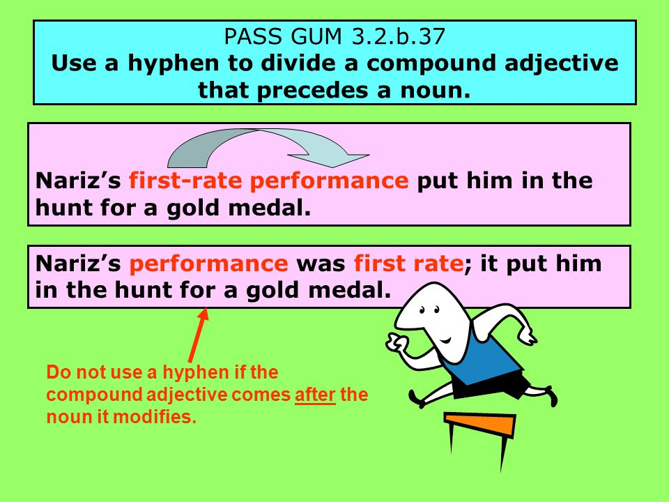 PASS GUM 3.2.b.37 Use a hyphen to divide a compound adjective that precedes a noun.