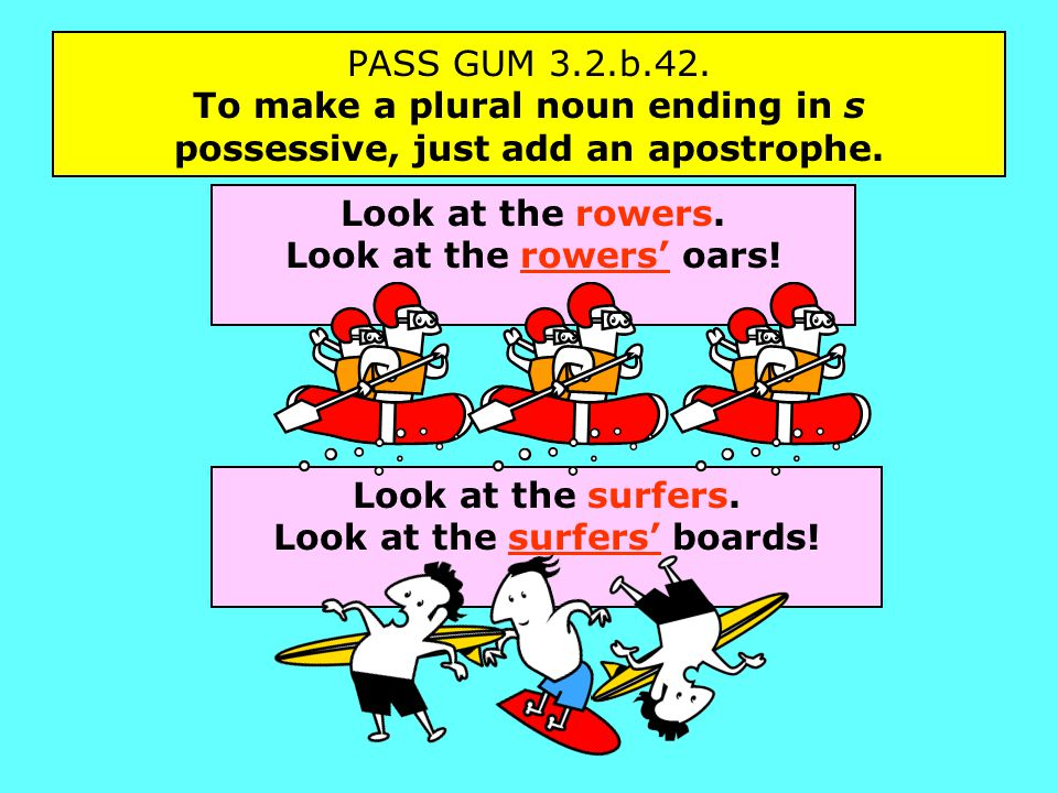 PASS GUM 3.2.b.42. To make a plural noun ending in s possessive, just add an apostrophe.