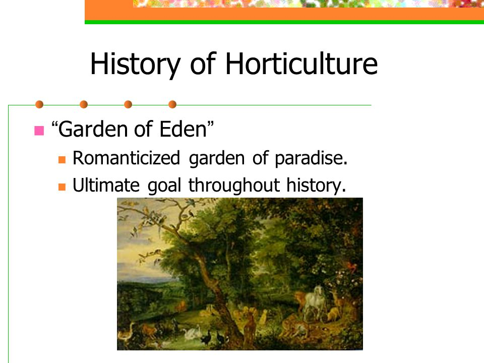 "History of Horticulture "" Garden of Eden "" Romanticized garden of paradise. Ultimate goal throughout history."