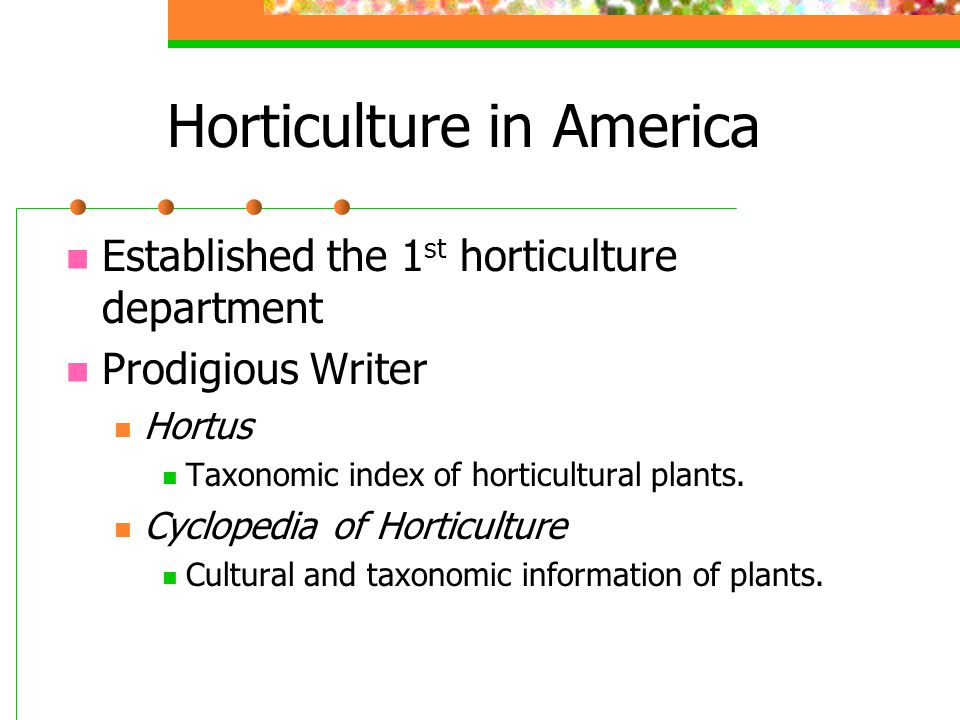 Horticulture in America Established the 1 st horticulture department Prodigious Writer Hortus Taxonomic index of horticultural plants. Cyclopedia of H