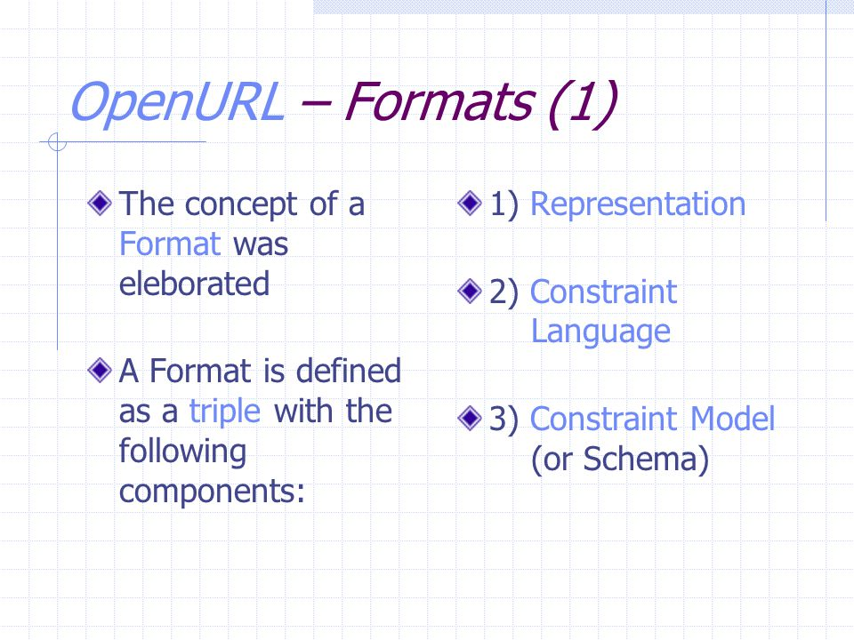 OpenURL – Formats (1) The concept of a Format was eleborated A Format is defined as a triple with the following components: 1) Representation 2) Const