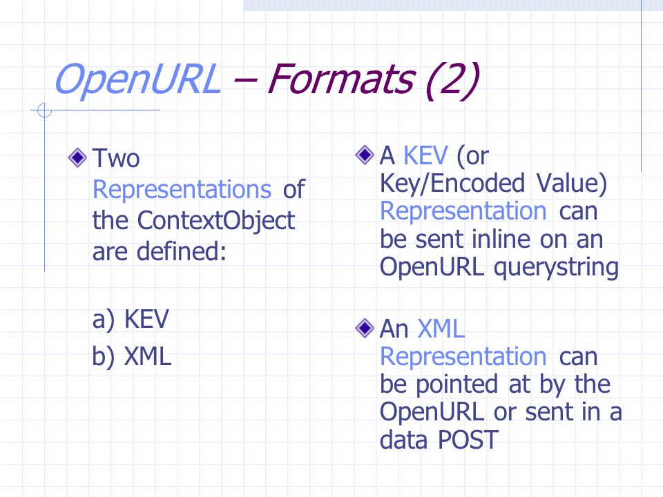 OpenURL – Formats (2) Two Representations of the ContextObject are defined: a) KEV b) XML A KEV (or Key/Encoded Value) Representation can be sent inli