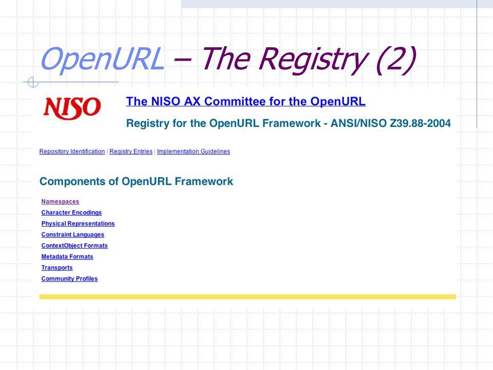 OpenURL – The Registry (2)