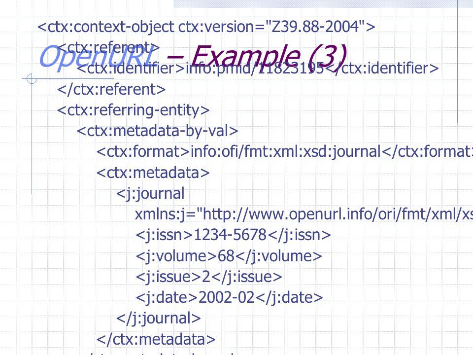 OpenURL – Example (3) info:pmid/11823195 info:ofi/fmt:xml:xsd:journal <j:journal xmlns:j= http://www.openurl.info/ori/fmt/xml/xsd/journal …> 1234-5678 68 2 2002-02