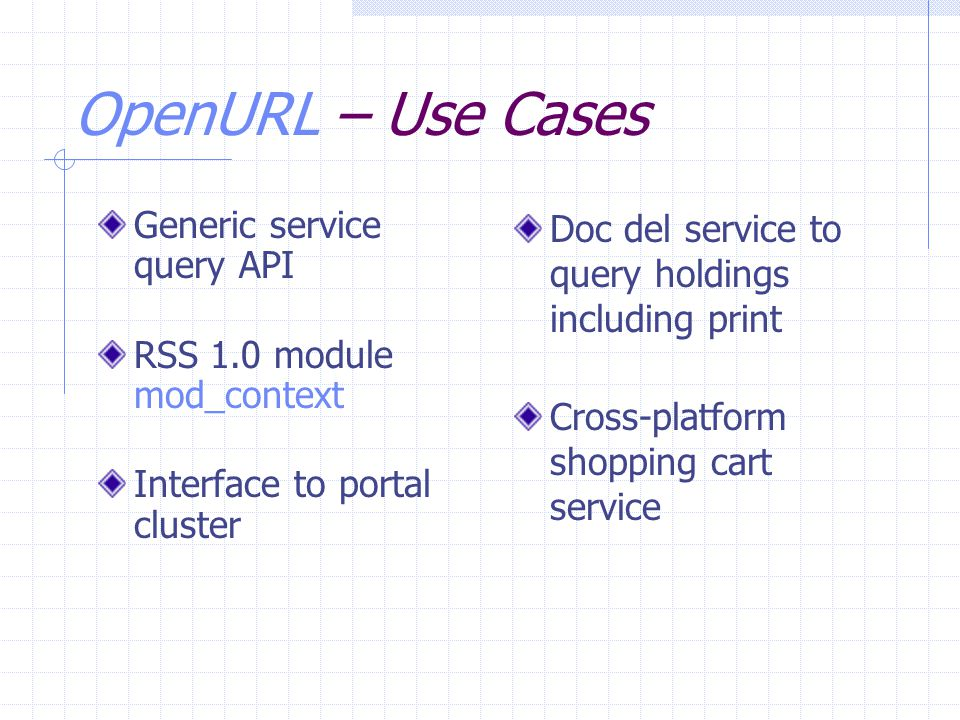 OpenURL – Use Cases Generic service query API RSS 1.0 module mod_context Interface to portal cluster Doc del service to query holdings including print