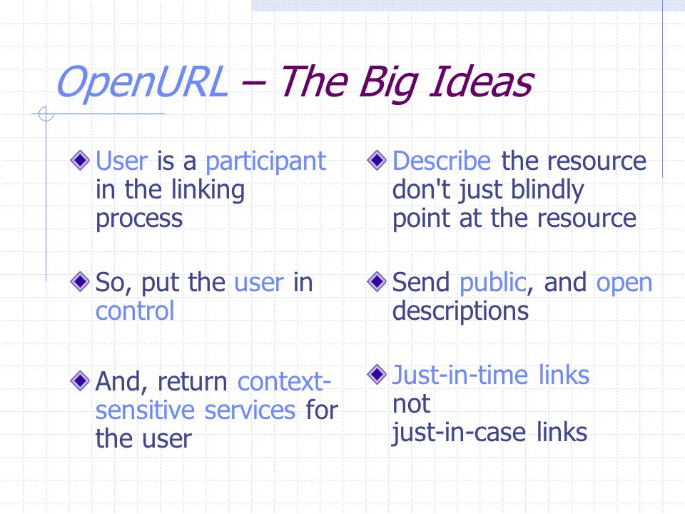 OpenURL – The Big Ideas User is a participant in the linking process So, put the user in control And, return context- sensitive services for the user