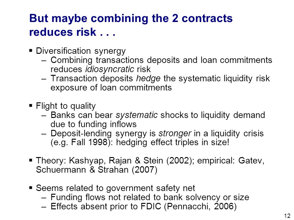 Filename 12 But maybe combining the 2 contracts reduces risk...  Diversification synergy –Combining transactions deposits and loan commitments reduce