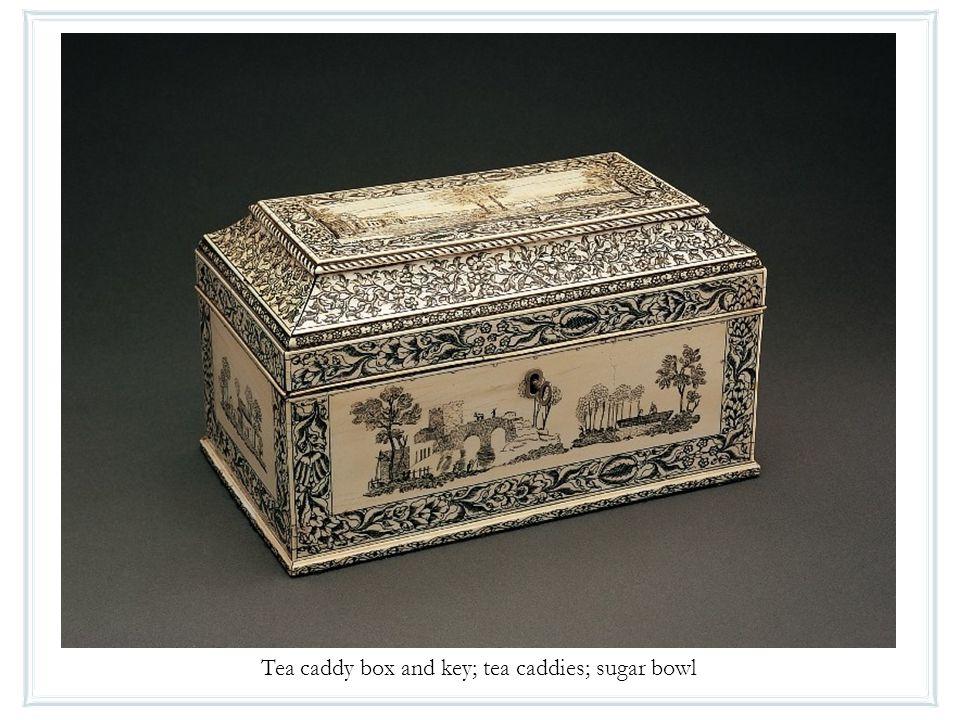 Tea caddy box and key; tea caddies; sugar bowl