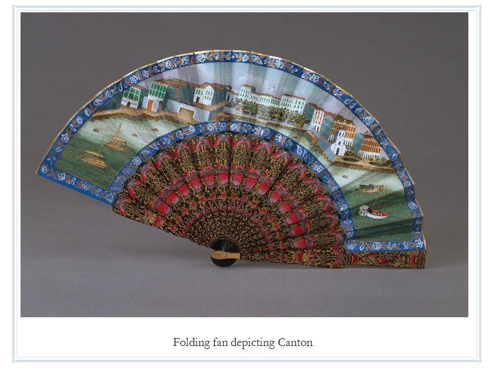 Folding fan depicting Canton