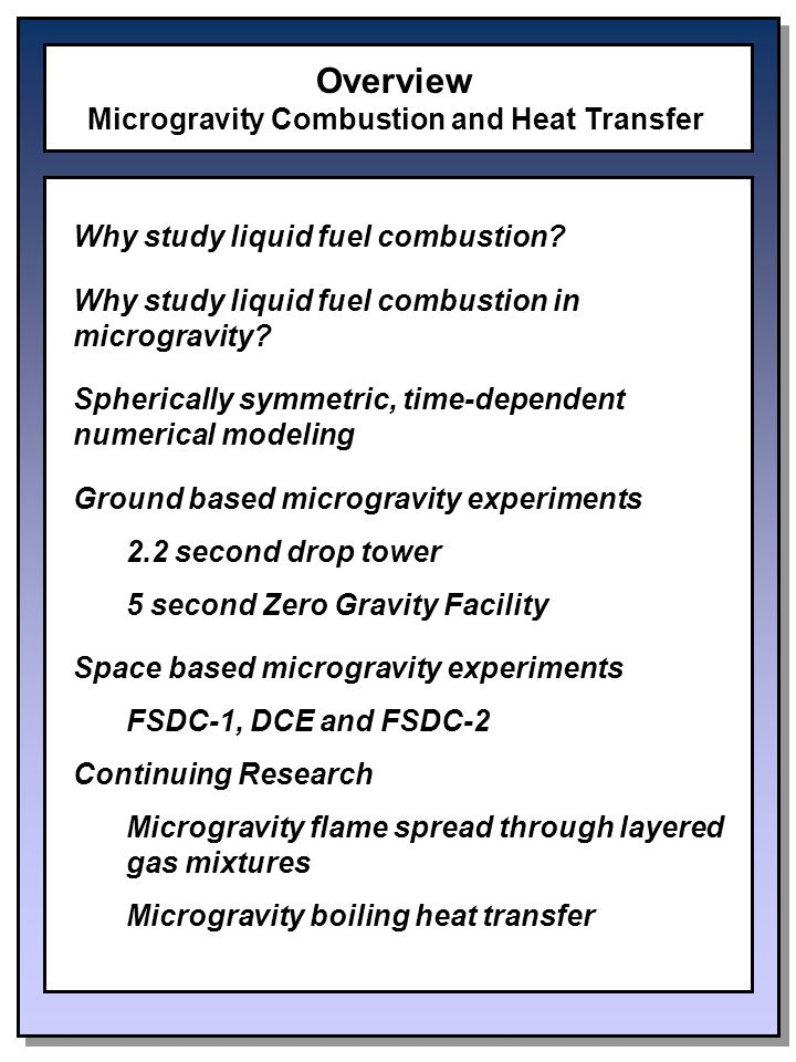 Overview Microgravity Combustion and Heat Transfer Why study liquid fuel combustion.