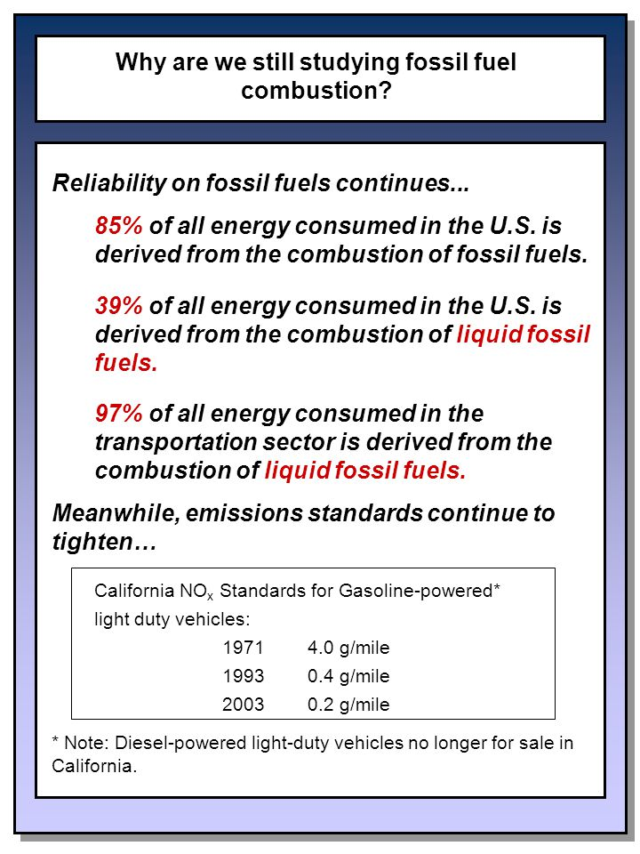 Why are we still studying fossil fuel combustion. Reliability on fossil fuels continues...