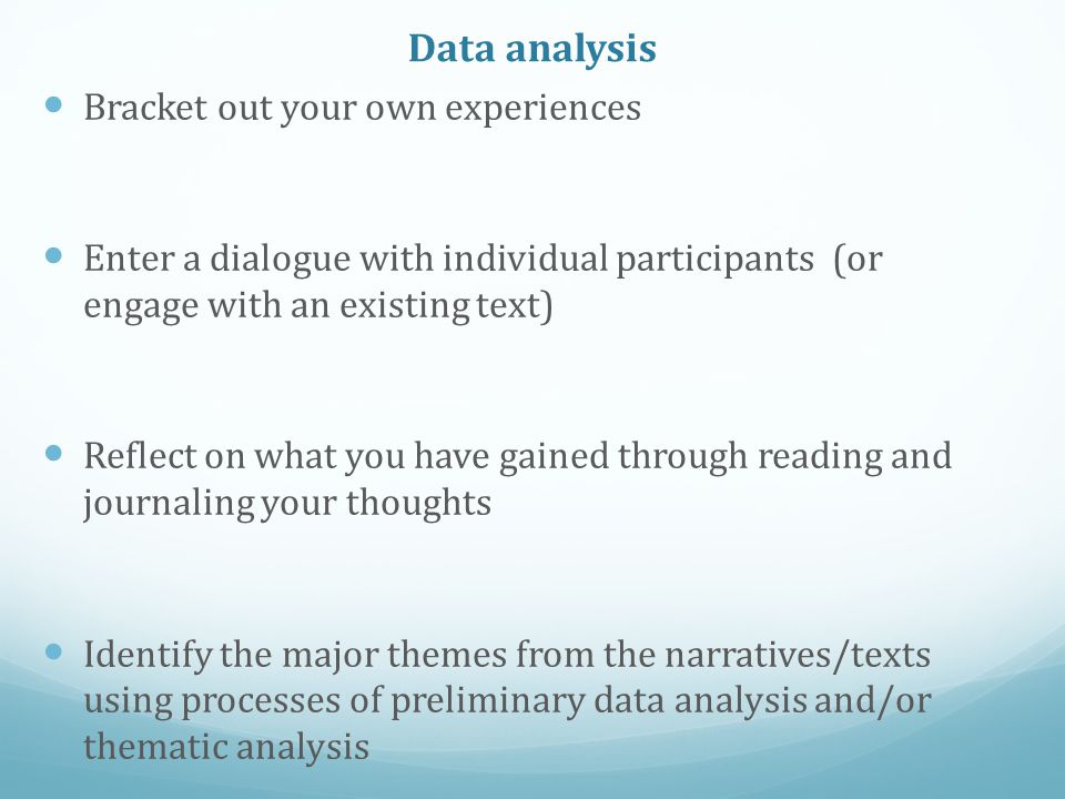 Data analysis detail (1) Stage 1: ideographic mode (the gathering of closely connected ideas, words or concepts) construct a 'research key' of categories from each transcript and subcategories related to the research question.