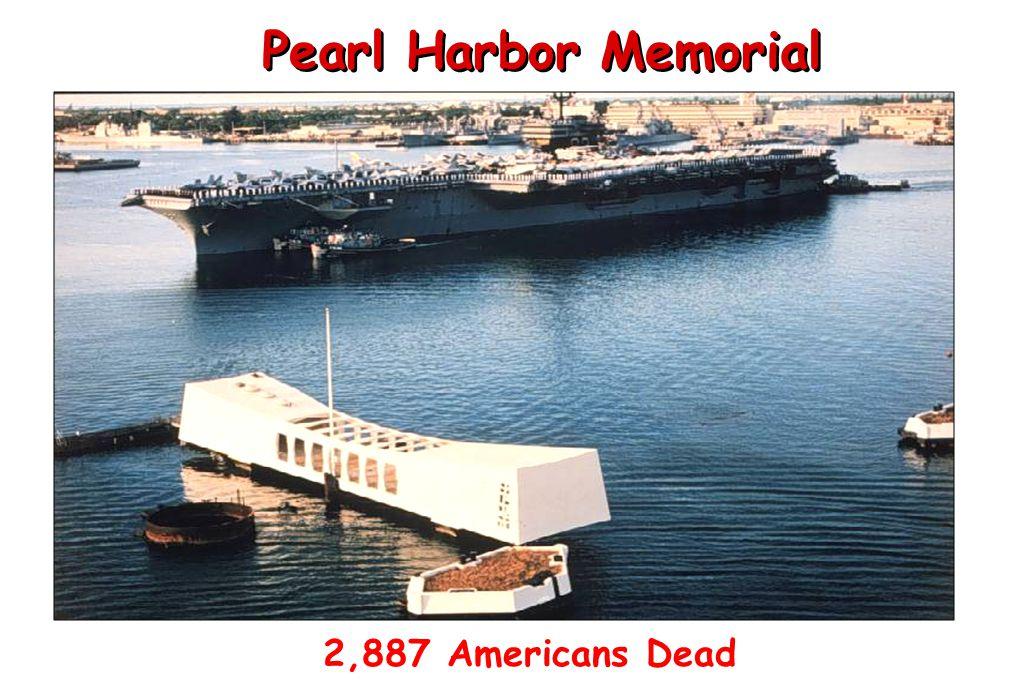 Pearl Harbor Memorial 2,887 Americans Dead