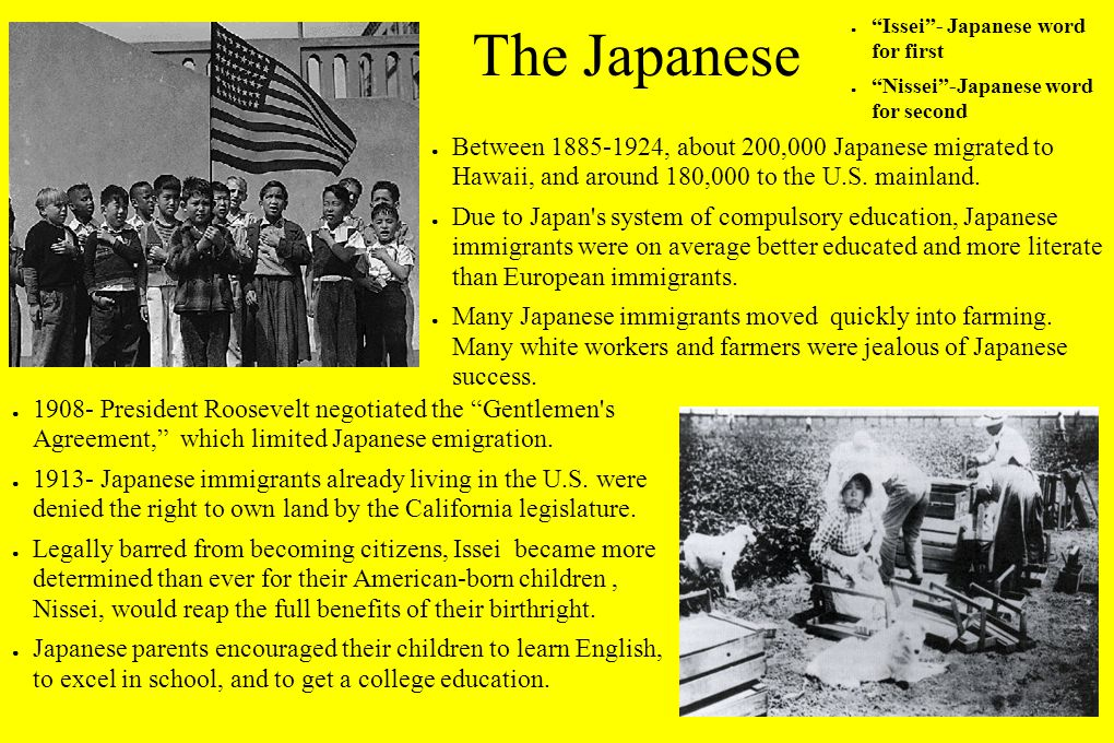 The Japanese ● Between 1885-1924, about 200,000 Japanese migrated to Hawaii, and around 180,000 to the U.S.